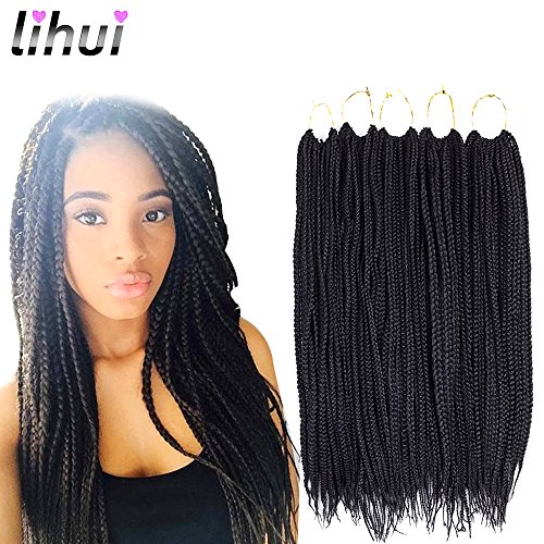 Lihui 7Pcs/lot Medium Box Braids Crochet Hair Crochet Box Braids Synthetic Hair Crochet Braids 20 Strands/pack (24Inches,#1B Color) by Lihui