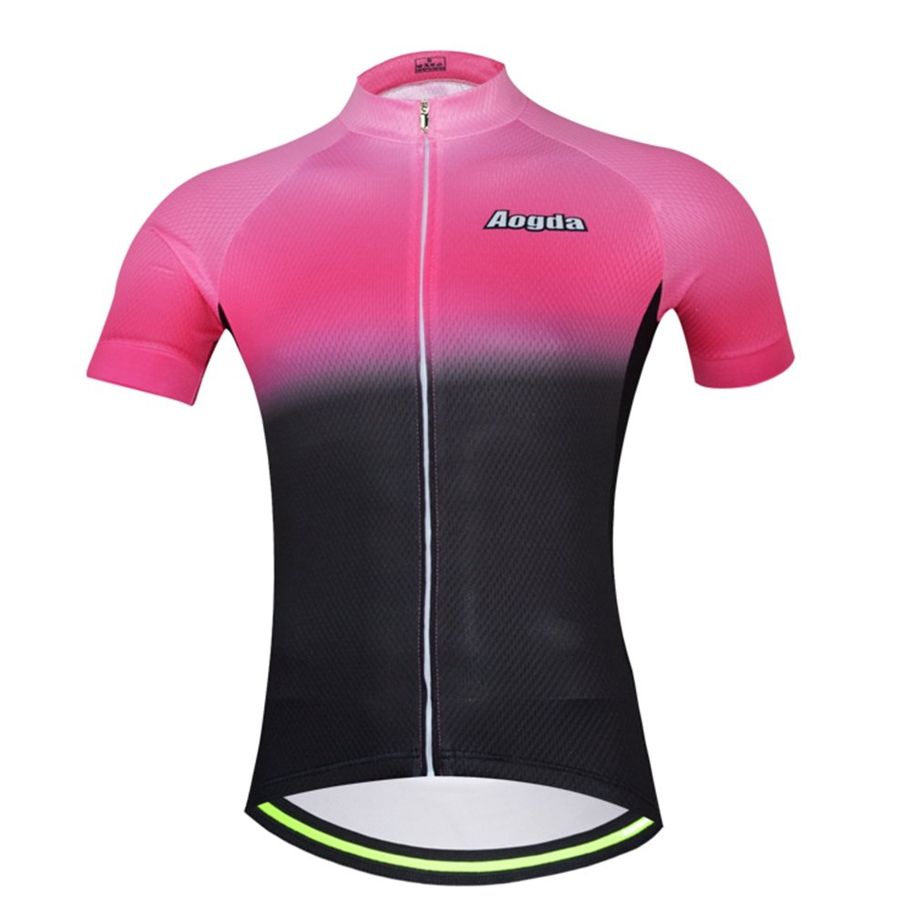 Uriah レディース 自転車半袖ジャージー 反射 B073R774FC  ピンク ブラック Chest 40.1''=Tag L
