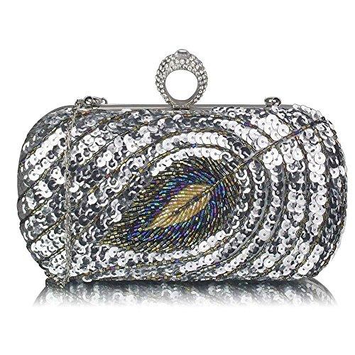 TrendStar Damen Kupplungs Taschen Damen Berühmtheit Stil Feder Kupplungs Kasten Handtaschen Silber 1 WyXffhYNp