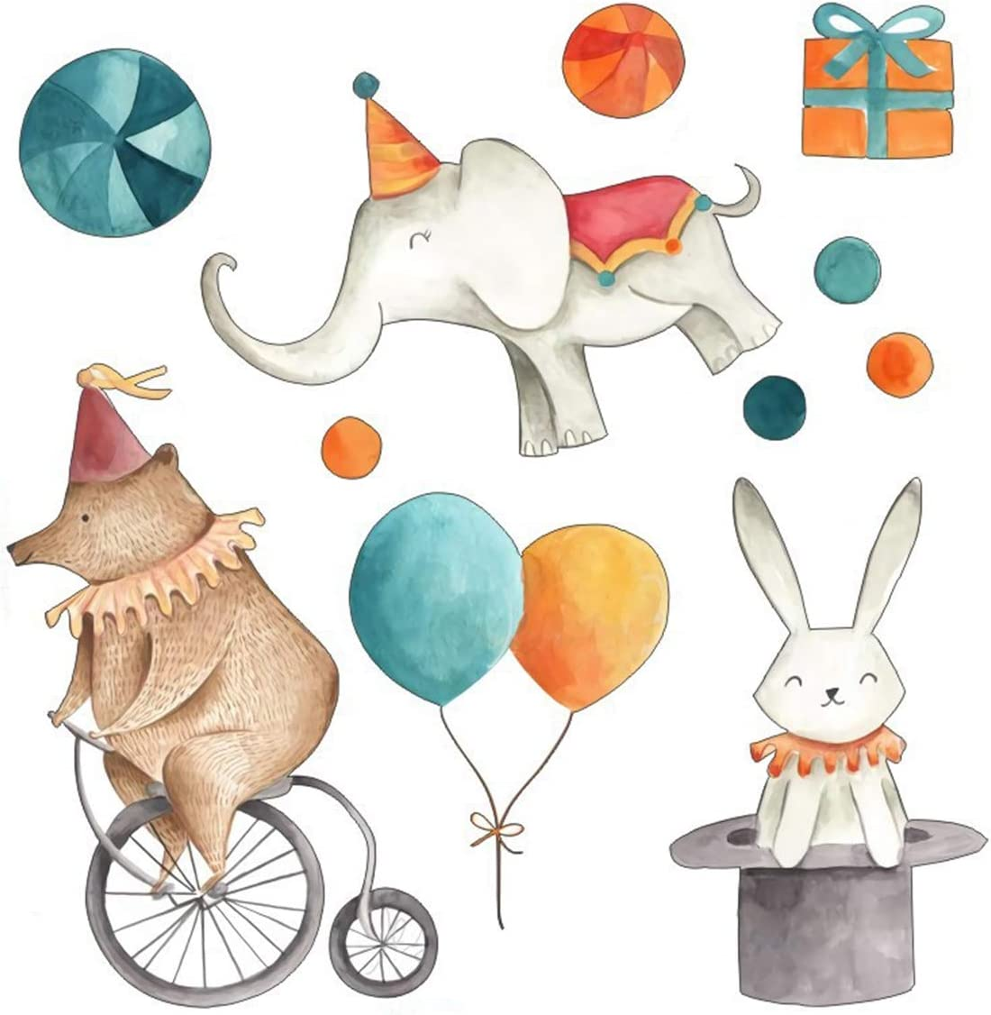 VIAYA Creative Cartoon Animal Wall Stickers Elephant Rabbit Circus Wall Decal Peelable and Removable Wall Stickers for Kids Nursery Bedroom Living Room,17x17inch