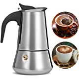 SKJIND Coffee Maker 9 Cup/450 ml Stainless Steel with Safety Relief Valve,Stovetop Espresso Maker Moka Pot with Filter, fit Gas, Electric and Ceramic Stovetop