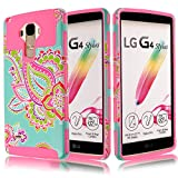 LG LS770 / G Stylo / G4 Stylus (NOT For LG G4!!) H631 / MS631,Kmall for LS770 2in1 High Impact Hybrid Dual Layer Heavy Duty Full-body Matte Rugged Armor Cover Case Totem Tribe Floral Pattern Hot Pink
