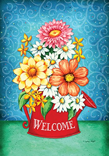 - Toland Home Garden Blooming Wateringcan 28 x 40 Inch Decorative Colorful Spring Summer Flower Welcome House Flag