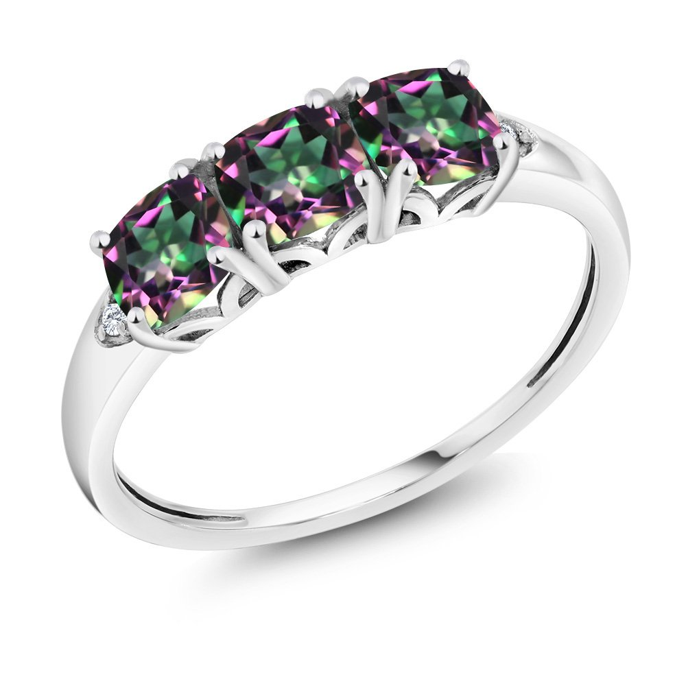 10K White Gold 2.14 Ct Cushion Green Mystic Topaz and Diamond 3-Stone Ring (Available in size 5, 6, 7, 8, 9)