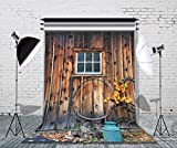 LB 5x7ft Poly Fabric Rustic Barn Door Backdrop for Photography Vintage Wooden Door Photo Backdrops Customized Photo Backgrounds Studio Props