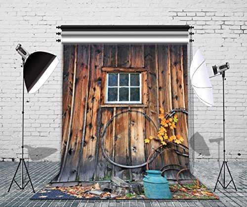 LB Rustic Barn Door Backdrop for Photography 5x7ft Vinyl Vintage Wooden Door Photo Backdrops for Party Event Portraits Photo Booth Backdrop