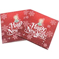 BESTOYARD 2019 Happy New Year Printed Napkin Colorful Party Napkin Restaurant Decoration for Party Supplies 100 Pcs