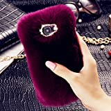Samsung S6 Case, FLOVEME Soft Warm Faux Rabbit Fur Fuzzy Plush Case with Cute Bowknot Bling Diamond Protective Back Cover for Samsung Galaxy S6 - Dark Purple