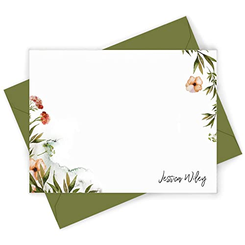 Notecards Personalized Flat Note Cards with Envelopes Watercolor Notecards Set Personalized Stationery Cards Dreams Custom Note Cards