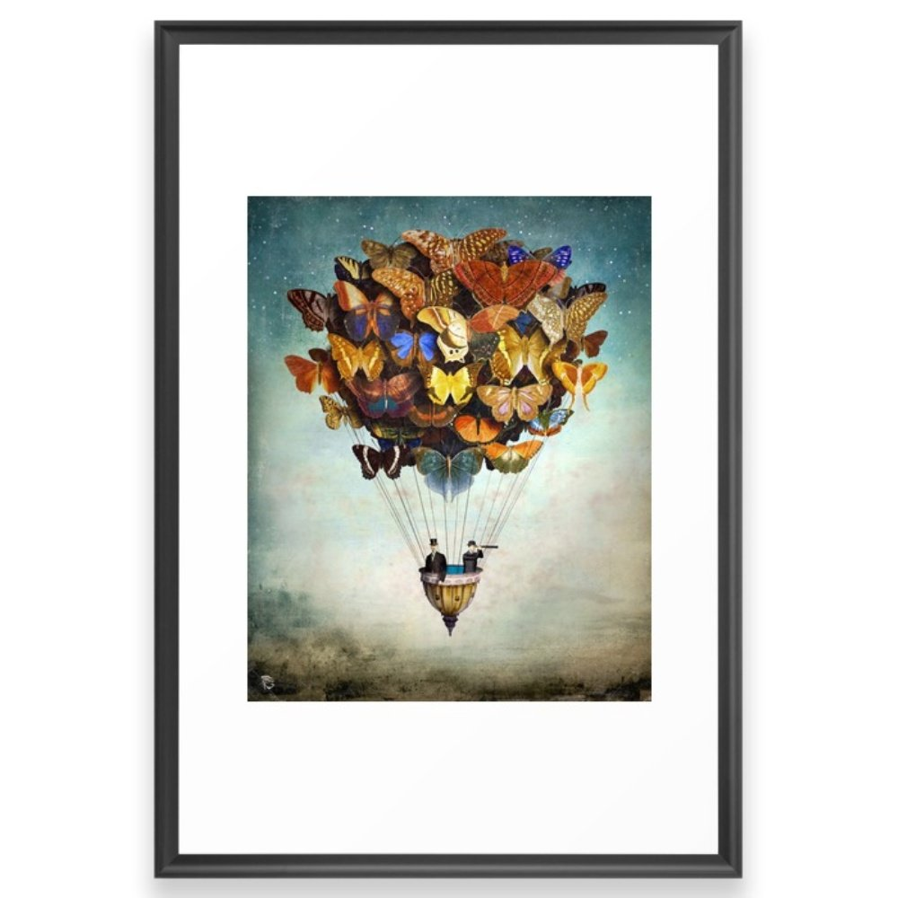 Society6 Fly Away Framed Print Scoop Black LARGE (Gallery) by Society6
