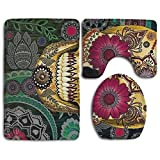 Happy Christmas Bathroom Accessories Bath Rug Sets 3 Piece Bathroom Non-Slip Floor Mats Sugar Skulls Style Pedestal Rug + Lid Toilet Cover + Bath Mat For Kids Women