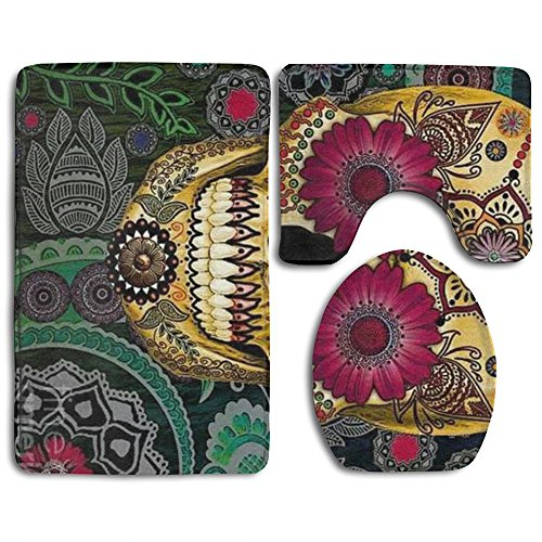 Happy Christmas Bathroom Accessories Bath Rug Sets 3 Piece Bathroom Non-Slip Floor Mats Sugar Skulls Style Pedestal Rug + Lid Toilet Cover + Bath Mat For Kids Women by ILNONO