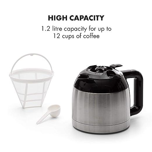 Klarstein Arabica Cafetera • Potencia: 800 W • Capacidad: 1,2 litros • Intensidad regulable • Pantalla LCD • EasyTouch Control • Acero inoxidable • Negro ...