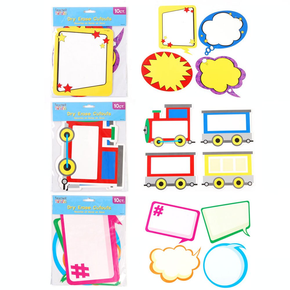Teacher Building Blocks Dry Erase Cutouts - Superhero, Hashtag, Train (6 Packs) Bulletin Board Cutouts, Reading Bulletin Board, Hashtag, Teaching Designer Cut Outs, Classroom Decorations by Teacher Building Blocks