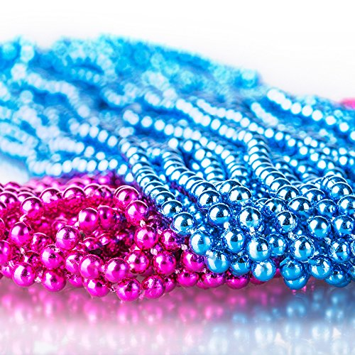Sepco Pink and Blue 4mm Round Beads 30 Inch Gender Reveal Beads Baby Shower Decorations for Announcement Party (Set of 30) ()