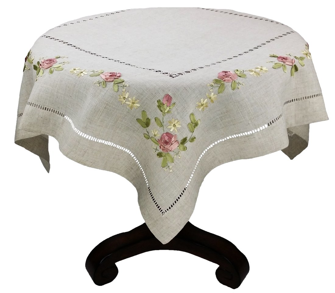 Xia Home Fashions Ribbon Embroidered Rose on Natural Linen with Hemstitch Floral Table Topper, 36-Inch by 36-Inch XD67803