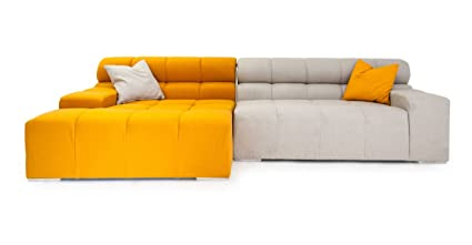 Kardiel Cubix Modern Modular Left Sectional Sofa, Sunrise, Heather Cashmere