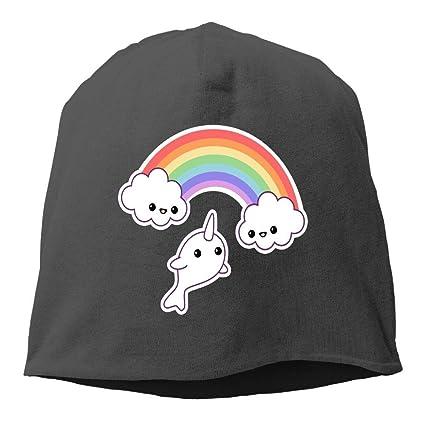 babd68abe67 Amazon.com  Demin09 Mens Womens Rainbow Narwhal Hats Beanie Cuff ...