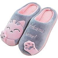 JACKSHIBO Sloffen Dames Pantoffels Heren Winter Comfort Kat Schattige Cartoon Slipper