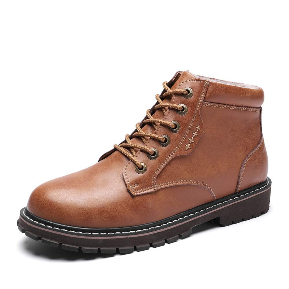 Brown Men's Fashion Ankle Work Boot Casual Classic All-Purpose Round Toe Winter Faux Fleece Inside High Top Boot Cricket shoes
