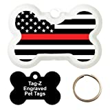 RED LINE FLAG - CUSTOMIZED - PET TAG - BONE SHAPE