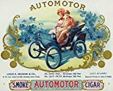 Automotor Brand Cigar Box Label - Autmobilia (24x36 Giclee Art Print, Wall Decor Travel Poster)