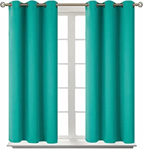 BGment Blackout Curtains for Bedroom - Grommet Thermal Insulated Room Darkening Curtains for Living Room, Set of 2 Panels (38 x 45 Inch, Teal)