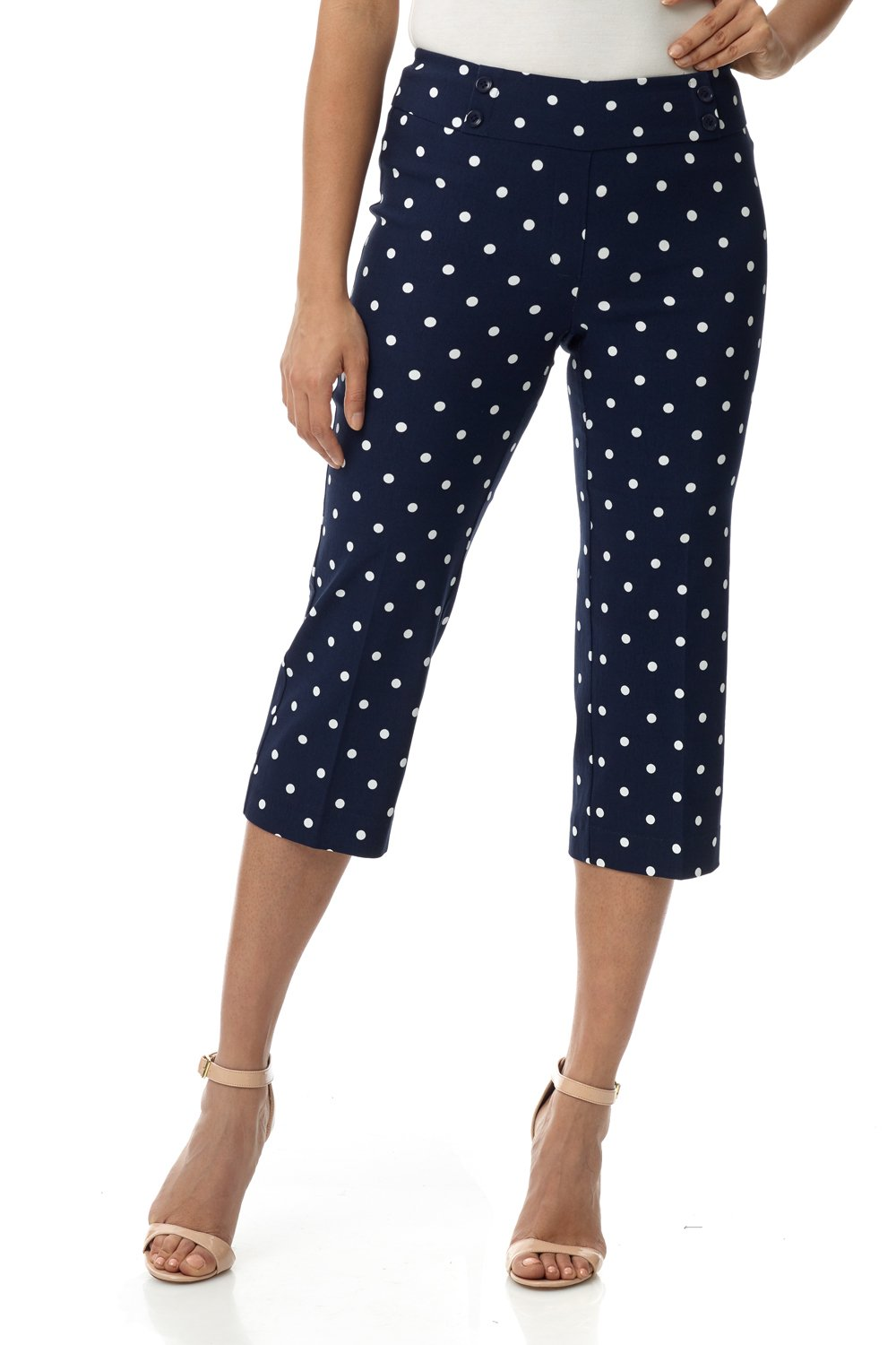 Rekucci Women's Ease in to Comfort Fit Capri with Button Detail (6,Navy/Ivory Dot)