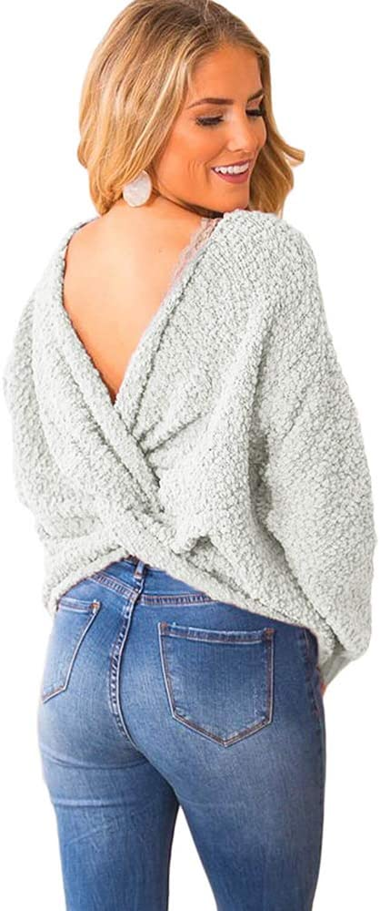 Womens Sweaters Jumpers ,Twisted V Neck Open Back Sweater