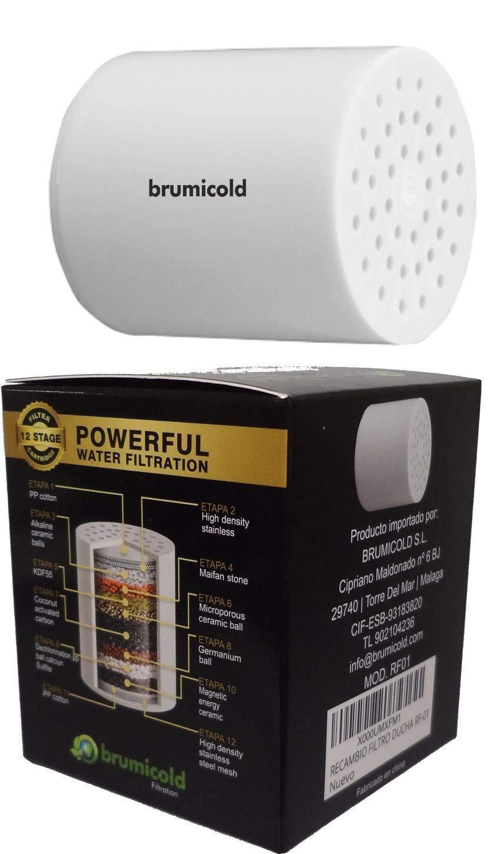 BRUMICOLD SPAIN recambio filtro ducha RF-01 cartucho universal,12 etapas compatible con filtro de 6/8/10 etapas: Amazon.es: Bricolaje y herramientas