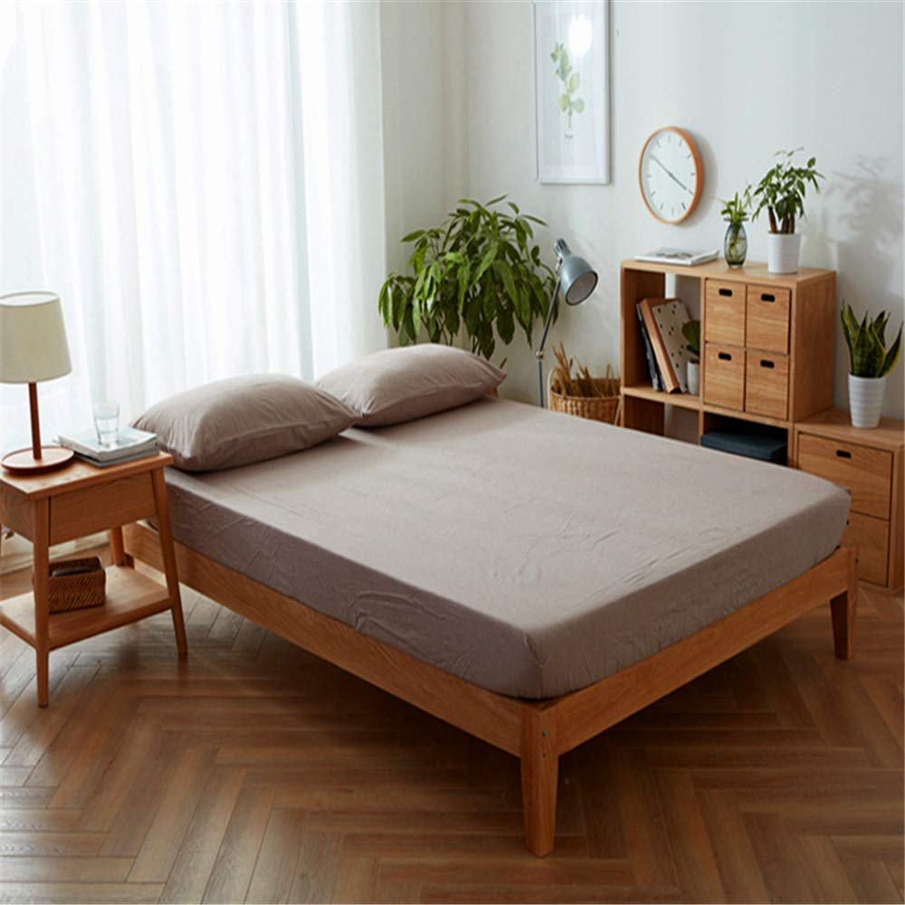 Plain Fresh Washed Cotton Sheets European Style Simple and Beautiful Skin-Friendly Coffee 180200cm+25cm by iangbaoyo