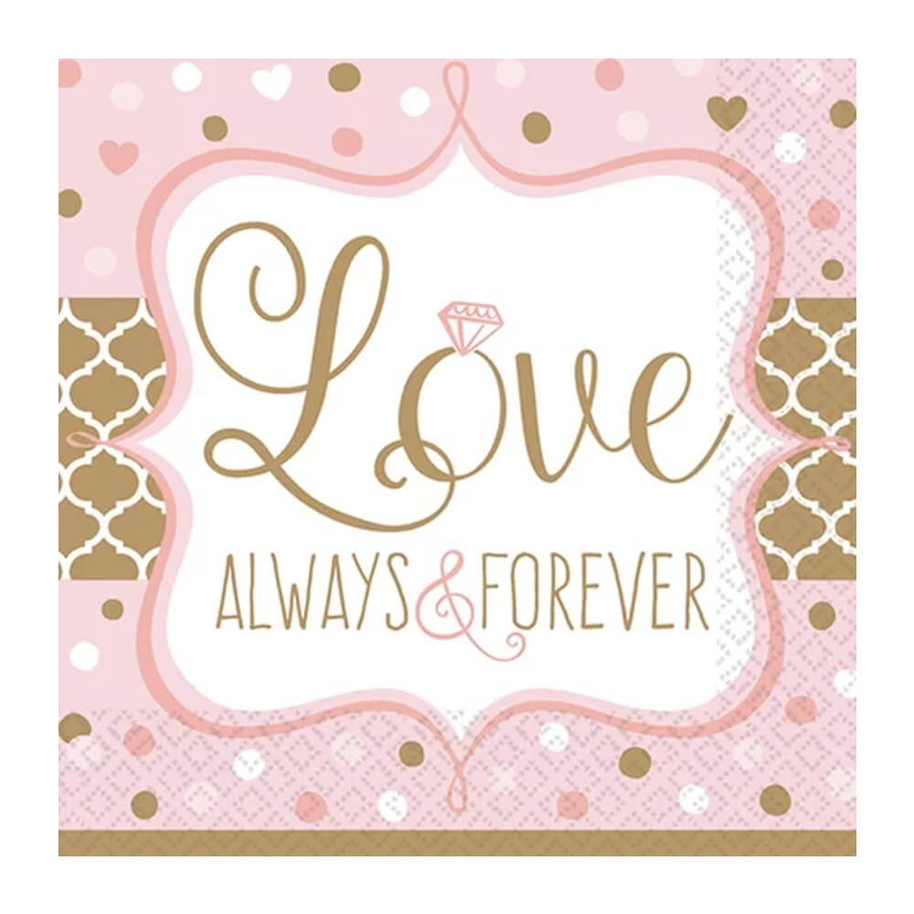 Love Always and Forever Metallic Paper Plates and Napkins for Bridal Shower or Anniversary, 16 Settings, Bundle- 3 Items by Designware (Image #3)