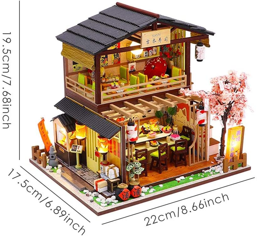 erhumama 3D Dollhouse DIY Wooden Miniature Chinese Building House Model Handmade Furniture LED Light Kits Puzzle Toy Birthday Gift