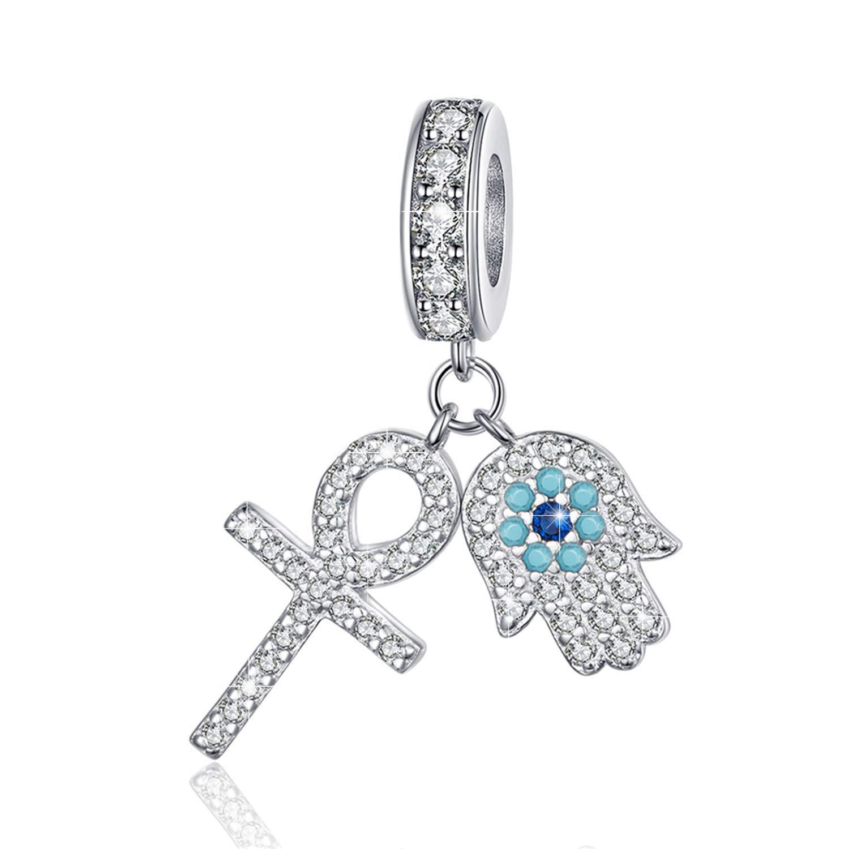 BAMOER 925 Sterling Silver Hamsa Charms Beads Fit Snake Chain Bracelet Necklace Pendant