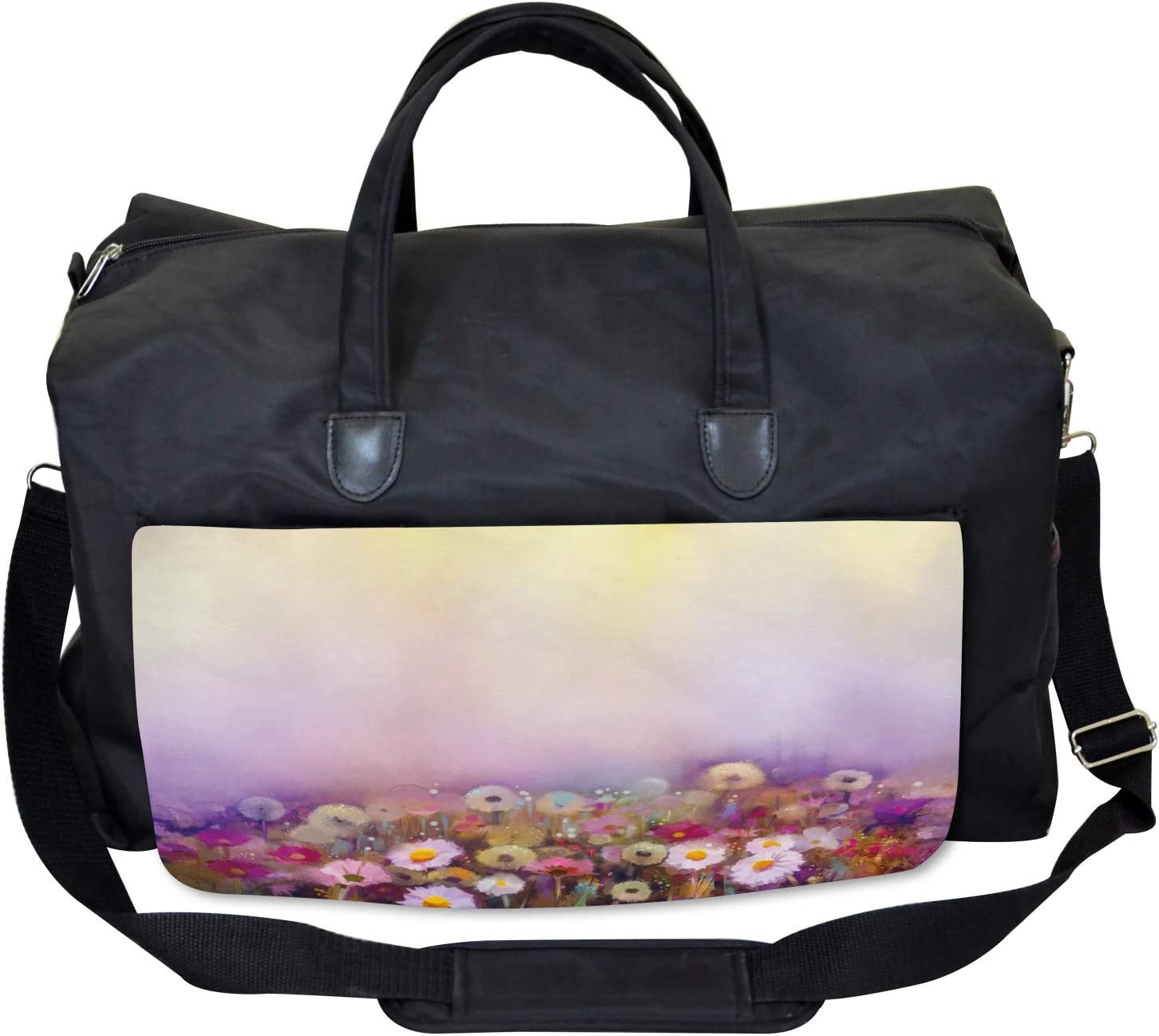 Ambesonne Floral Gym Bag Different Blossom Types Large Weekender Carry-on