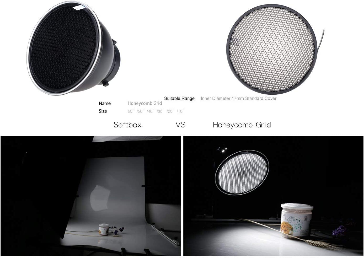 7inch 18cm Standard Reflector Diffuser with 10//20//30//40//50//60 Degree Honeycomb Grid for Bowens Mount Studio Light Strobe Flash