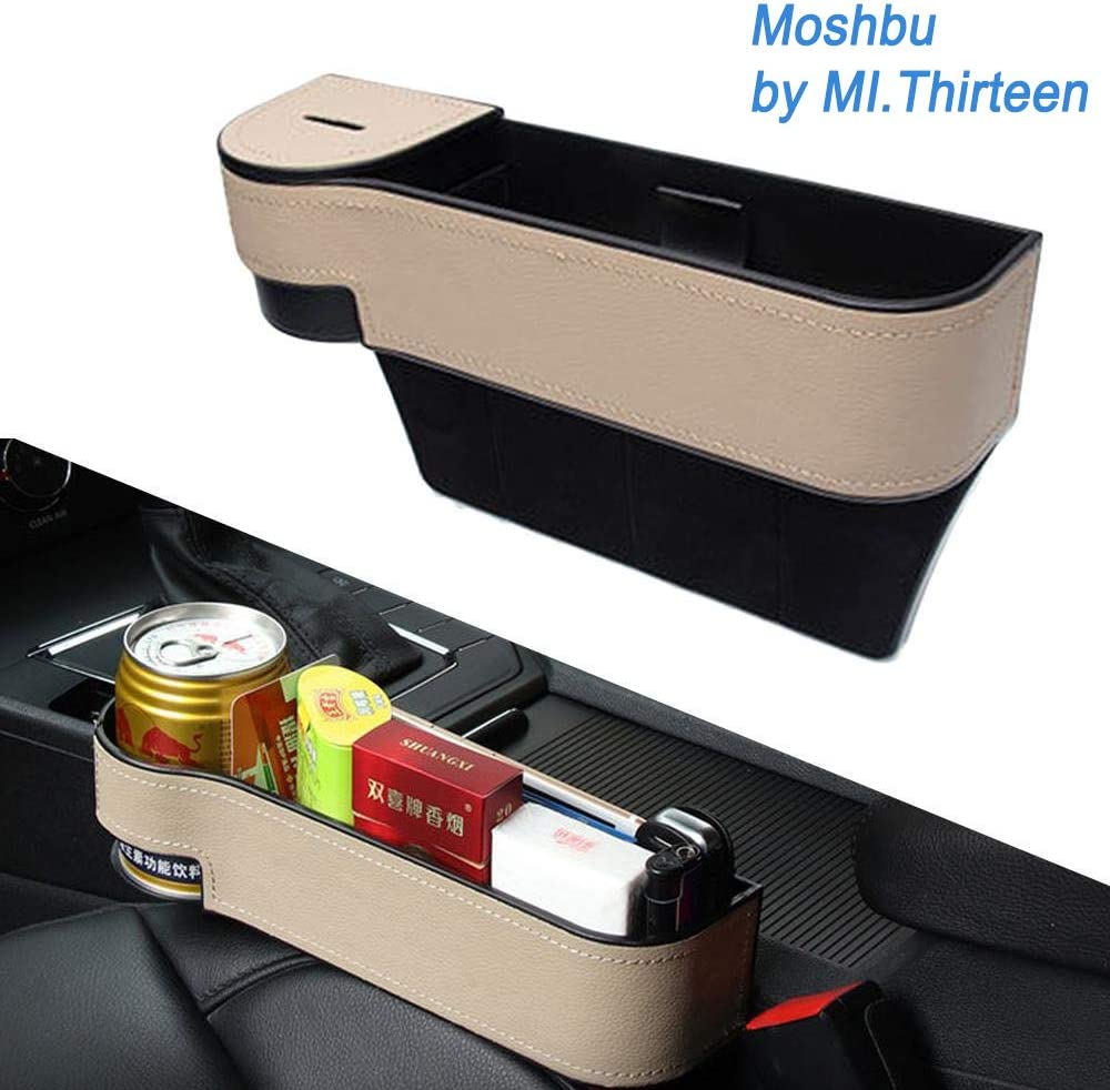 Car Seat Gap Filler with Cup Holder A-Left and Right Car Seat Pockets Leather Car Console Side Organizer with Leather Cover