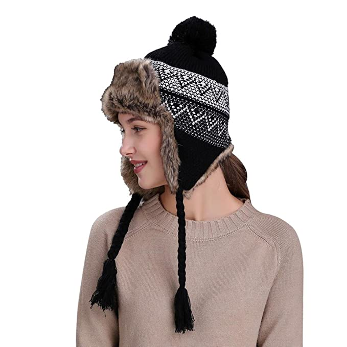 a3a30d85d95 Hunputa Women s Hat Winter Trapper Hat with Faux Fur with Earflap Aviator  Russian Hat Knit Peruvian