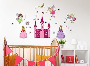 WandSticker4U Wandtattoo Prinzessin Und Das Märchen Schloss | Wandbild:  130x90 Cm | Einhorn Pferd Fee