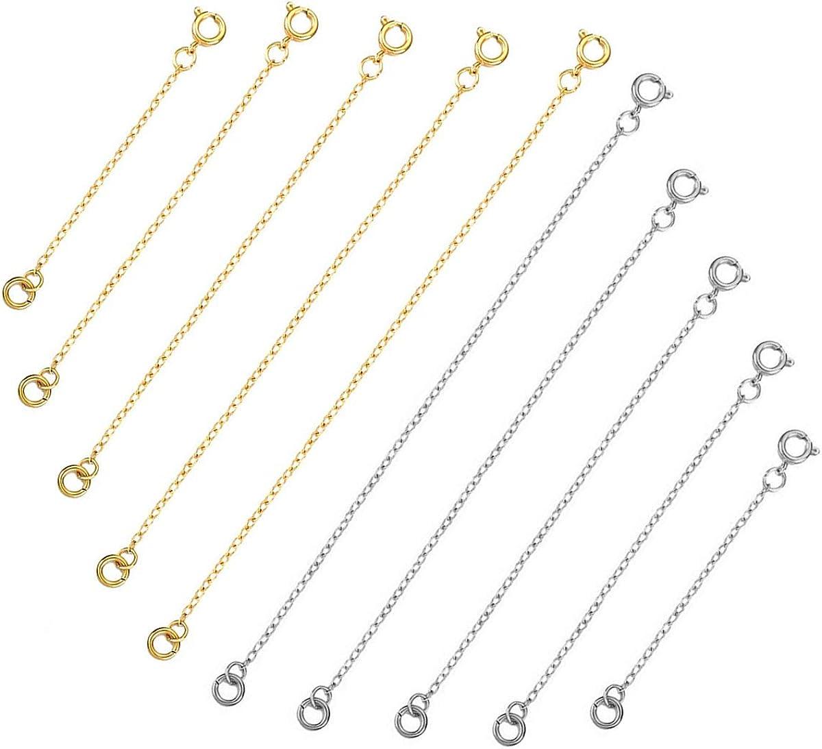 Argent et Or Dokpav 10 Pi/èces Cha/îne dExtension Cha/îne dExtension en Acier Inoxydable Rallonge de Cha/îne Collier Extension pour Fabrication de Bijoux