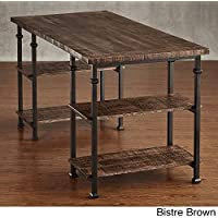 HOME Myra Vintage Industrial Modern Rustic Storage Desk Bistre Brown