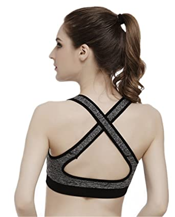 f848591d04 YeeHoo Crosstrainer Criss-Cross Back Support No Wire Sports Bra.   Amazon.co.uk  Clothing
