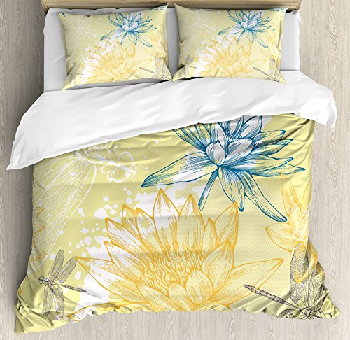 Dragonfly King (Dragonfly Duvet Cover Set by Ambesonne, Boho Style Plants and Spiritual Dragonflies Sketchy Illustration, 3 Piece Bedding Set with Pillow Shams, King Size, Yellow White Petrol Blue)