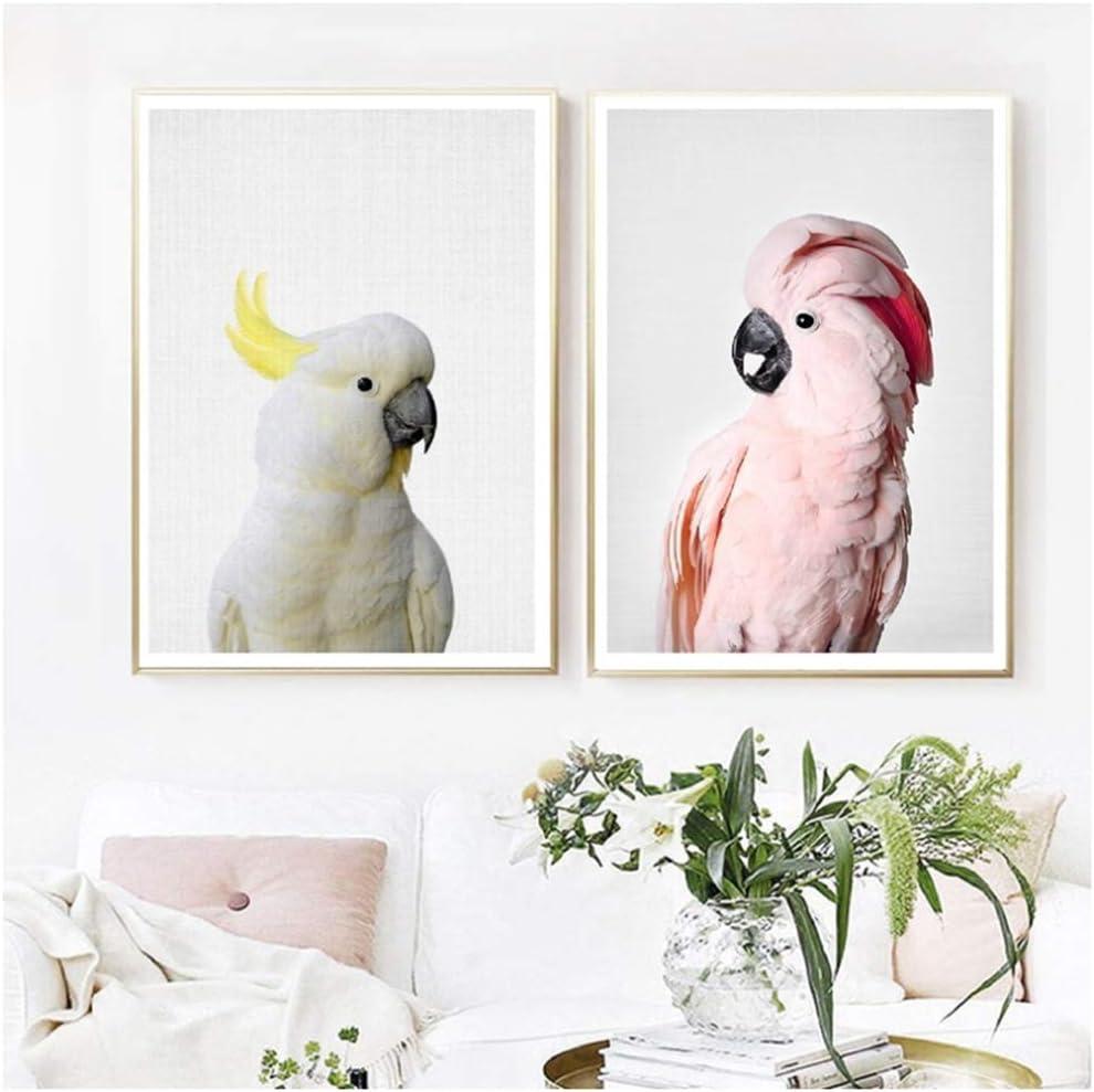 juntop Cuadro en Lienzo Cacatúa Rosa Pájaro Animal Decoración Moderna para el hogar Loro Mascota Arte de la Pared Imagen Estilo nórdico 30x40 cm / 11.8