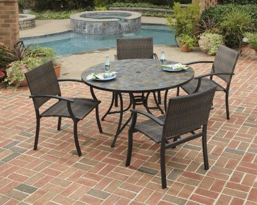 Home Styles 5601-36812 Stone Harbor 5-Piece Dining Set with Table and Newport Arm Chairs, Black Finish, 51-Inch