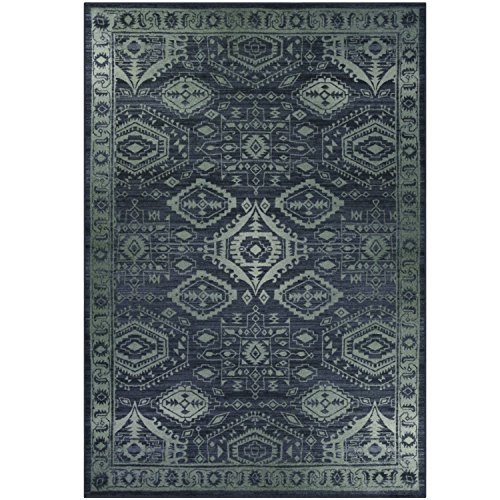 Area Rugs, Maples Rugs [Made in USA][Georgina] 7' x 10' Non Slip Padded Large Rug for Living Room, Bedroom, and Dining Room - Navy Blue/Green by Maples Rugs