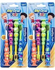 RM Oral Kids Healthy Fun Suction Cup Soft Toothbrushes, 4 Count Twin Pack