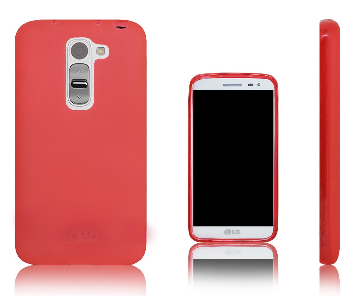 Xcessor Vapour Funda Carcasa de TPU Gel Flexible Para LG G2 mini. Rojo / Transparente