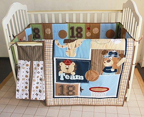 NAUGHTYBOSS Unisex Baby Bedding Set Cotton Cartoon Bear Play Baseball Pattern Quilt Bumper Bedskirt Fitted Diaper Bag 8 Pieces Set by NAUGHTYBOSS