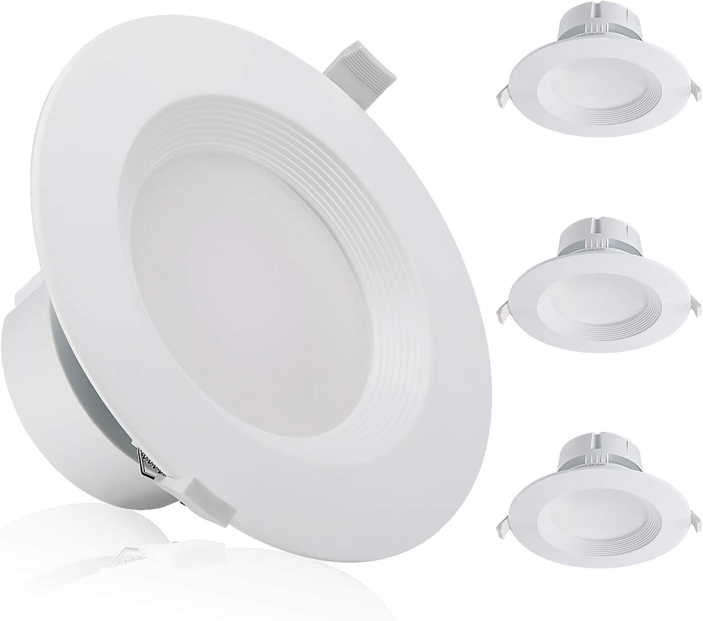 TORCHSTAR 9W 6 Inch LED Recessed Ceiling Light with Junction Box, (80W Eqv.), Dimmable Downlight Fixture, Airtight & IC Rated, UL Listed, Wet Location, 5000K Daylight, 5-Year Warranty, Pack of 4